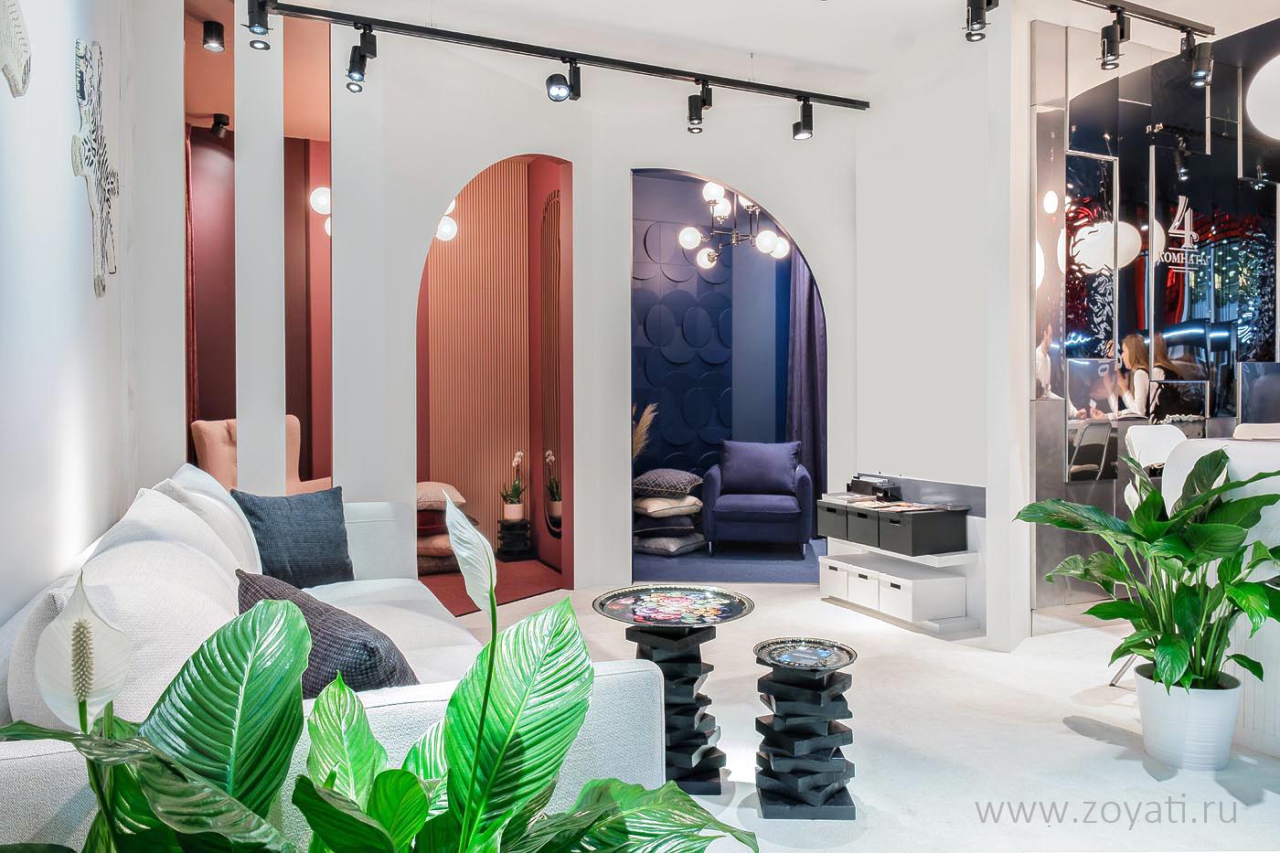 """Дизайн выставочного стенда """"4 комнаты"""" на Batimat Russia 2020, дизайнер: Зоя Ти"""